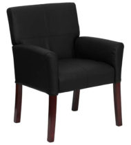 Black Leather Executive Side Chair or Reception Chair with Mahogany Legs-0