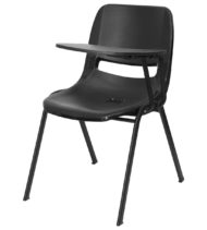 Black Ergonomic Shell Chair with Left Handed Flip-Up Tablet Arm -0