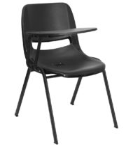 Black Ergonomic Shell Chair with Right Handed Flip-Up Tablet Arm -0