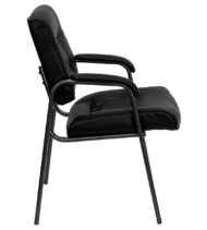 Black Leather Executive Side Chair with Titanium Frame Finish-14831