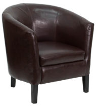 Brown Leather Barrel Shaped Guest Chair -0