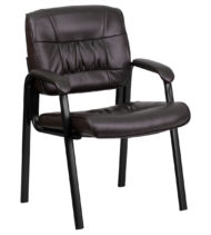 Brown Leather Guest / Reception Chair with Black Frame Finish -0