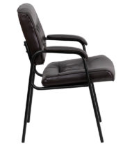 Brown Leather Guest / Reception Chair with Black Frame Finish -14836
