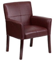 Burgundy Leather Executive Side Chair or Reception Chair with Mahogany Legs -0
