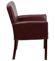 Burgundy Leather Executive Side Chair or Reception Chair with Mahogany Legs -14892