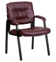 Burgundy Leather Guest / Reception Chair with Black Frame Finish -0