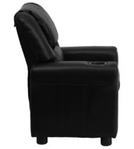 Contemporary Black Vinyl Kids Recliner with Cup Holder and Headrest -15654