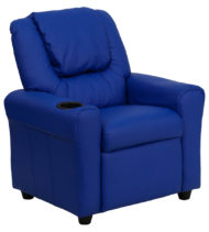 Contemporary Blue Vinyl Kids Recliner with Cup Holder and Headrest -0