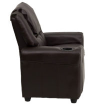 Contemporary Brown Vinyl Kids Recliner with Cup Holder and Headrest -15664