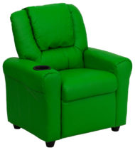 Contemporary Green Vinyl Kids Recliner with Cup Holder and Headrest -0