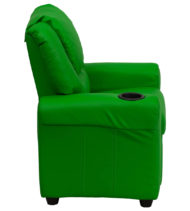 Contemporary Green Vinyl Kids Recliner with Cup Holder and Headrest -15669