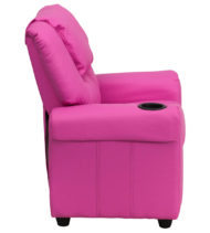 Contemporary Hot Pink Vinyl Kids Recliner with Cup Holder and Headrest -15674