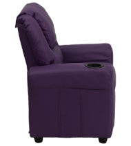 Contemporary Purple Vinyl Kids Recliner with Cup Holder and Headrest -15699
