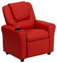 Contemporary Red Vinyl Kids Recliner with Cup Holder and Headrest -0