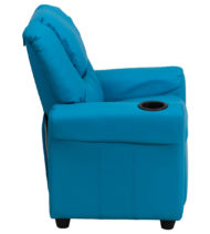 Contemporary Turquoise Vinyl Kids Recliner with Cup Holder and Headrest -15709