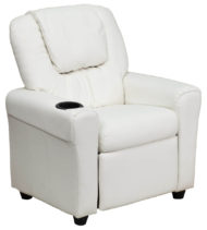 Contemporary White Vinyl Kids Recliner with Cup Holder and Headrest -0