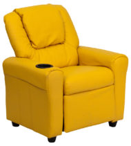 Contemporary Yellow Vinyl Kids Recliner with Cup Holder and Headrest -0