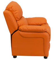 Deluxe Heavily Padded Contemporary Orange Vinyl Kids Recliner with Storage Arms -15414