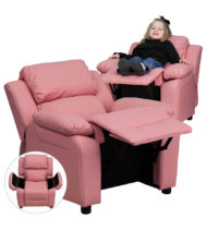 Deluxe Heavily Padded Contemporary Pink Vinyl Kids Recliner with Storage Arms -0