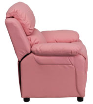 Deluxe Heavily Padded Contemporary Pink Vinyl Kids Recliner with Storage Arms -15419