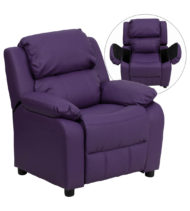Deluxe Heavily Padded Contemporary Purple Vinyl Kids Recliner with Storage Arms -0