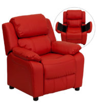 Deluxe Heavily Padded Contemporary Red Vinyl Kids Recliner with Storage Arms -0