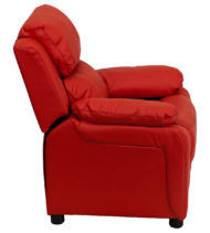 Deluxe Heavily Padded Contemporary Red Vinyl Kids Recliner with Storage Arms -15429