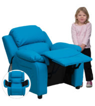 Deluxe Heavily Padded Contemporary Turquoise Vinyl Kids Recliner with Storage Arms -0