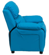Deluxe Heavily Padded Contemporary Turquoise Vinyl Kids Recliner with Storage Arms -15434
