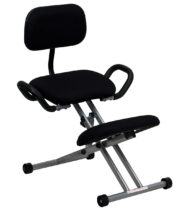 Ergoneel Kneeling Chair in Black Fabric with Back and Handles -0