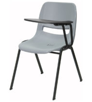 Gray Ergonomic Shell Chair with Left Handed Flip-Up Tablet Arm -0