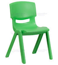 Green Plastic Stackable School Chair with 15.5'' Seat Height -0
