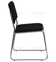 HERCULES Series 1000 lb. Capacity Black Fabric High Density Stacking Chair with Chrome Sled Base -17677