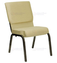 HERCULES Series 18.5'' Wide Beige Patterned Stacking Church Chair with 4.25'' Thick Seat - Gold Vein Frame -0