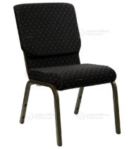 HERCULES Series 18.5'' Wide Black Dot Patterned Stacking Church Chair with 4.25'' Thick Seat - Gold Vein Frame -0