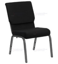 HERCULES Series 18.5'' Wide Black Stacking Church Chair with 4.25'' Thick Seat - Silver Vein Frame -0