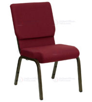 HERCULES Series 18.5'' Wide Burgundy Stacking Church Chair with 4.25'' Thick Seat - Gold Vein Frame -0