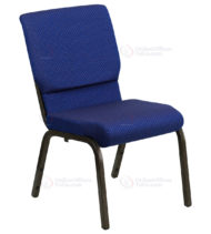 HERCULES Series 18.5'' Wide Navy Blue Dot Patterned Stacking Church Chair with 4.25'' Thick Seat - Gold Vein Frame -0