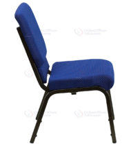 HERCULES Series 18.5'' Wide Navy Blue Dot Patterned Stacking Church Chair with 4.25'' Thick Seat - Gold Vein Frame -17761