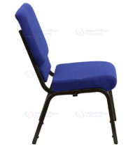HERCULES Series 18.5'' Wide Navy Blue Stacking Church Chair with 4.25'' Thick Seat - Gold Vein Frame -17765
