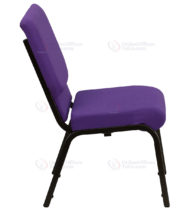 HERCULES Series 18.5'' Wide Purple Stacking Church Chair with 4.25'' Thick Seat - Gold Vein Frame -17773