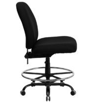 HERCULES Series 400 lb. Capacity Big and Tall Black Fabric Drafting Stool with Extra WIDE Seat -17338