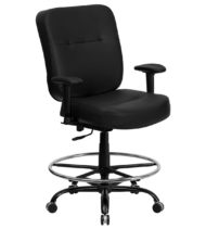 HERCULES Series 400 lb. Capacity Big & Tall Black Leather Drafting Stool with Arms and Extra WIDE Seat -0