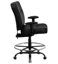 HERCULES Series 400 lb. Capacity Big & Tall Black Leather Drafting Stool with Arms and Extra WIDE Seat -17374