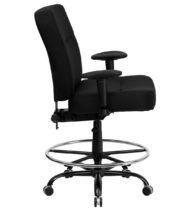 HERCULES Series 400 lb. Capacity Big & Tall Black Fabric Drafting Stool with Arms and Extra WIDE Seat -17358