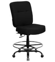 HERCULES Series 400 lb. Capacity Big & Tall Black Fabric Drafting Stool with Extra WIDE Seat -0