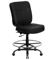 HERCULES Series 400 lb. Capacity Big & Tall Black Leather Drafting Stool with Extra WIDE Seat -0