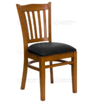 HERCULES Series Cherry Finished Vertical Slat Back Wooden Restaurant Chair with Black Vinyl Seat -0