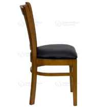 HERCULES Series Cherry Finished Vertical Slat Back Wooden Restaurant Chair with Black Vinyl Seat -18269