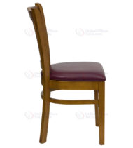 HERCULES Series Cherry Finished Vertical Slat Back Wooden Restaurant Chair with Burgundy Vinyl Seat -18273